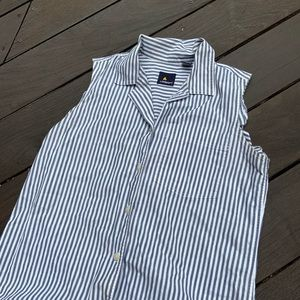 White and blue stripped shirt